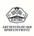 Serif font and racing emblem vector image vector image