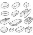 set of concrete construction block vector image vector image