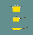 Set of Cooking Pot And Pan Flat Design vector image
