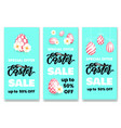set of flyers happy easter sale banner template vector image