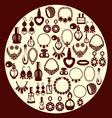 set of Jewelry and perfume Icons silhouette vector image vector image