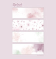 set pastel pink watercolor for horizontal vector image vector image