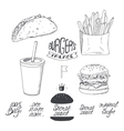 Sketched fast food set in black and white Hand vector image vector image