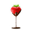 strawberry in chocolate trickle isolated white vector image vector image
