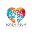 tree heart logo health and care logo vector image