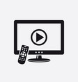tv with remote control and play button on screen vector image vector image