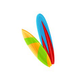 two colorful surfboards on a vector image vector image