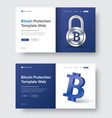 web banner template with padlock and 3d bitcoin vector image
