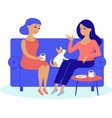 women friends having cosy conversation at home vector image vector image
