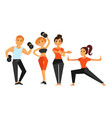man and woman in gym making sport fitness vector image