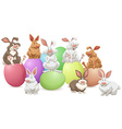 Many rabbits on colorful eggs vector image