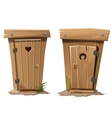 Two rural toilets on white background vector image