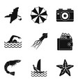 beach photo icons set simple style vector image vector image