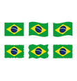 brazil flag set official colors and proportion vector image vector image