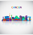 cancun skyline silhouette in colorful geometric vector image