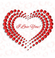 card with red dotted heart peprcut 3d design vector image vector image