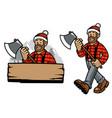 cartoon happy lumberjack worker vector image vector image