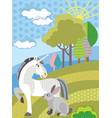 cartoon unicorn and rabbit vector image