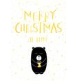 christmas card gold cute bear vector image vector image