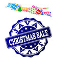 christmas sale collage of mosaic map of java vector image vector image