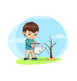 cute little boy waters young sprout of tree vector image vector image