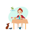 eating at home daily routine activities of women vector image