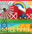 farm scene with rainbow in sky vector image
