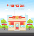 fast food building facade view city street vector image vector image