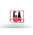 ga g a logo letters with red and black colors and vector image vector image