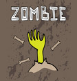 halloween greeting card with a zombie hand vector image