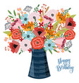 happy birthday floral hand draw design concept vector image vector image