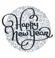 Happy New Year black and white lettering vector image vector image