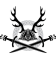 Helmet with antlers and Viking swords vector image vector image