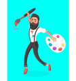 Hipster men with paint brush and palette jumping vector image vector image