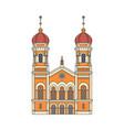 jewish synagogue building cartoon icon vector image