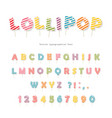 lollipop candy glossy font design colorful abc vector image vector image