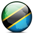 Map on flag button of United Republic Tanzania vector image vector image