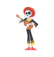 mexican musician skeleton in traditional costume vector image vector image