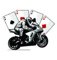 motorcycle with playing cards poker vector image vector image
