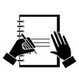 note book with hand writen vector image vector image