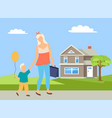 parent and child going near house walking vector image