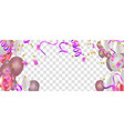 pink rose gold balloons confetti and ribbons vector image vector image