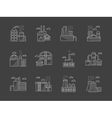 Plants and factories white line icons set vector image vector image