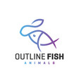 sea fish outline logo vector image vector image
