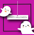 square halloween banner with cute ghosts in kawaii vector image vector image