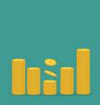 stacks gold coin icon diagram shape dollar vector image vector image