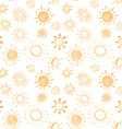 Suns hand drawn doodles Seamless pattern vector image