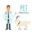 veterinarian doctor with goat vector image
