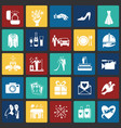 wedding icons set on color squares background for vector image vector image