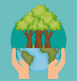 world planet with tree ecology icon vector image vector image